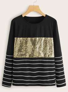 Contrast Sequin Striped Round Neck Tee
