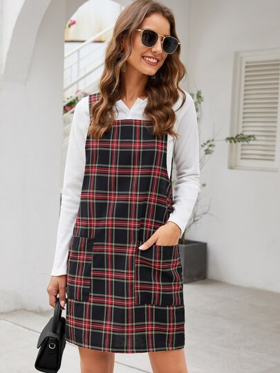 Plaid Print Dual Pocket Pinafore Dress