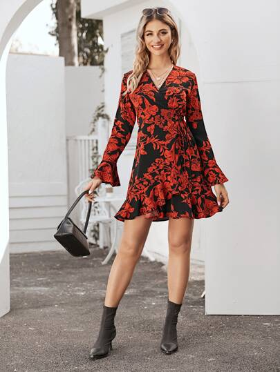 Surplice Neck Tie Side Floral Print Dress