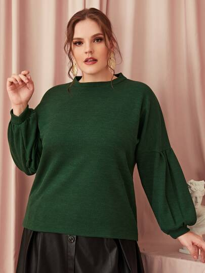 Plus Mock Neck Drop Shoulder Sweater