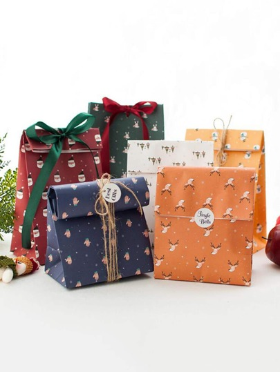 1pc Christmas Gift Package Bag With 1pc Hemp Rope
