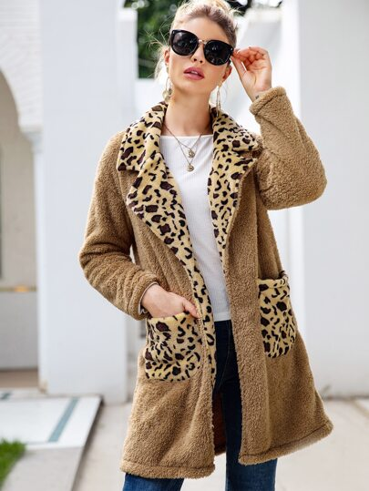Contrast Leopard Panel Dual Pockets Teddy Coat