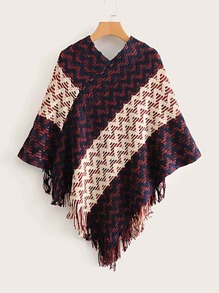 Fringe Trim Chevron Poncho Sweater