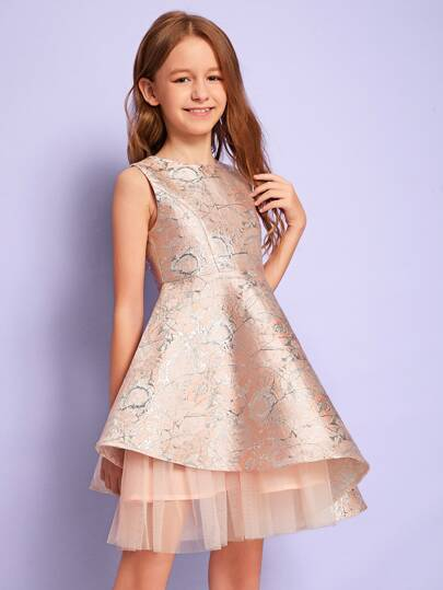 Girls Mesh Insert Jacquard Dress