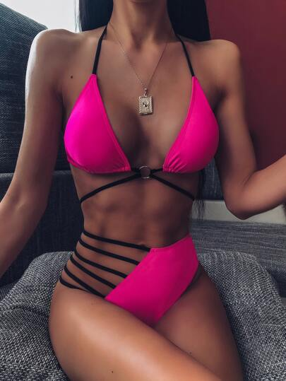 Triangle High Waist Bikini Swimsuit