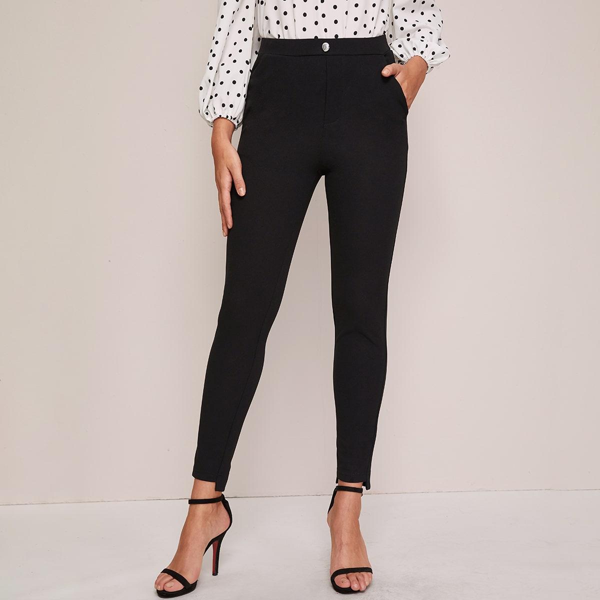 Облегающие брюки с высокой талией и пуговицами
