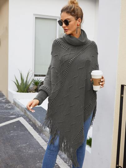 Turtle Neck Batwing Sleeve Fringe Hem Sweater