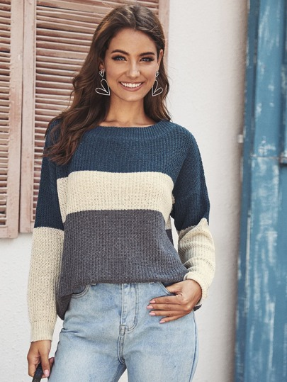 Colorblock Boat Collar Drop Shoulder Sweater