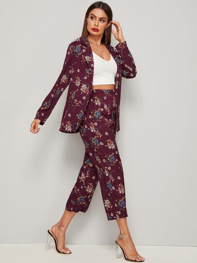 Floral Graphic Blazer With Elastic Waist Pants