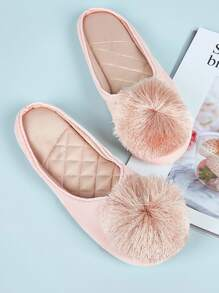 Pom Pom Decor Flat Slippers