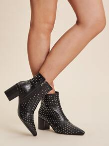 Studded Decor Side Zip Chunky Boots
