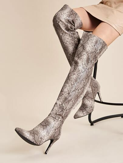 Snakeskin Print Over The Knee Stiletto Boots
