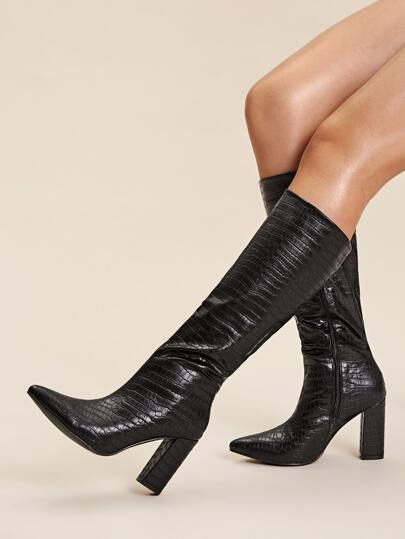 Point Toe Croc Embossed Chunky Boots