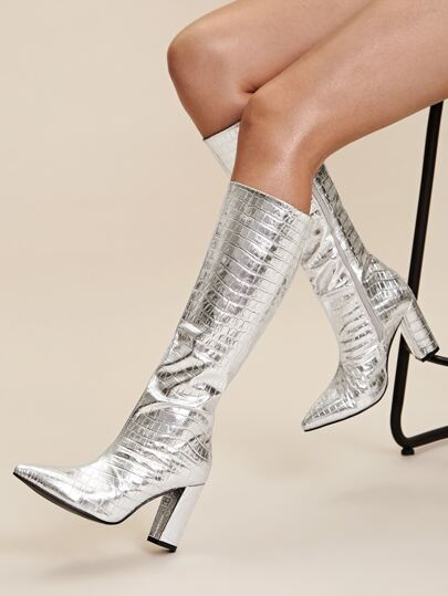 Metallic Croc Decor Point Toe Chunky Boots