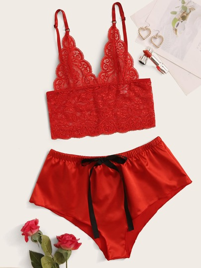 Floral Lace Top With Satin Shorts Lingerie Set