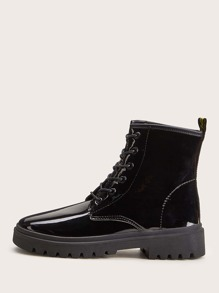 Patent Lace-up Front Combat Boots