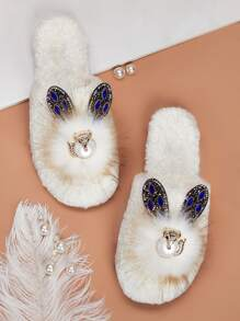 Faux Pearl & Rhinestone Decor Fluffy Slippers