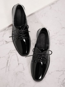 Patent Lace-up Front Derby Shoes