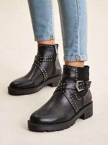 Studded & Buckle Decor Side Zip Boots