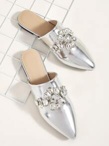 Jewelled Decor Point Toe Flat Mules