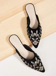 Point Toe Leaf Embroidered Flat Mules