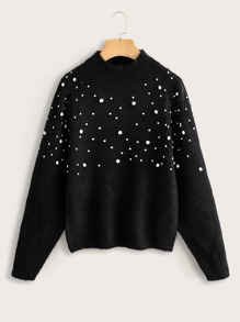 Pearls Beaded Fluffy Knit Jumper