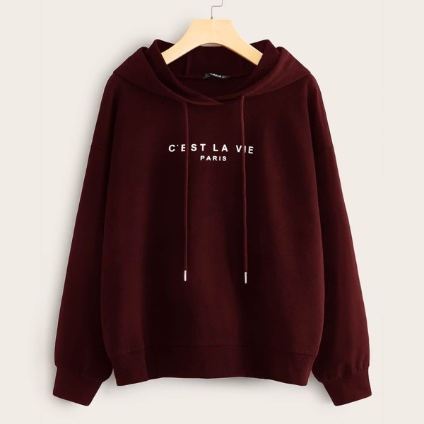 Slogan Graphic Drawstring Hoodie, Burgundy
