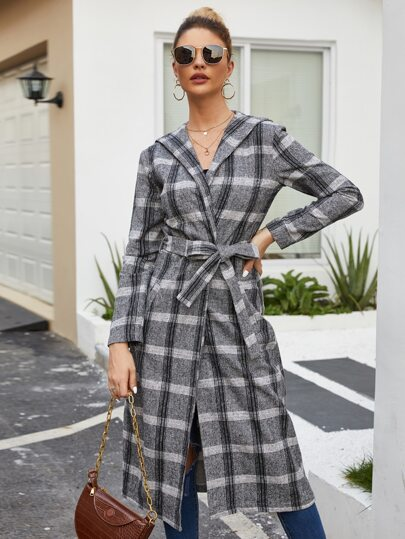 Plaid Print Belted Hooded Coat
