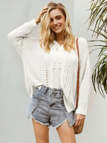 Simplee Eyelet Detail Drop Shoulder Oversize Fuzzy Jumper