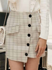 Simplee Plaid Button Front Wrap Skirt