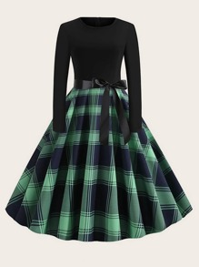 plus plaid print belted ball gown dress