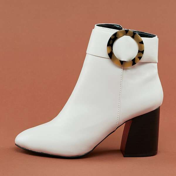 Tortoise Buckle Detail Block Heel Ankle Boots, White