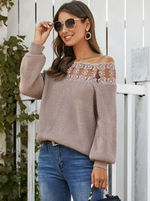 Lace Panel Ribbed Knit Bardot Sweater