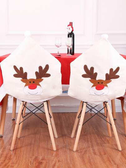 1pc Christmas Elk Pattern Chair Cover