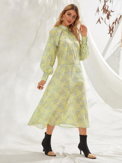 Mock Neck Floral Print Raglan Sleeve Dress