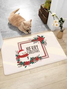 Christmas Slogan Graphic Floor Mat