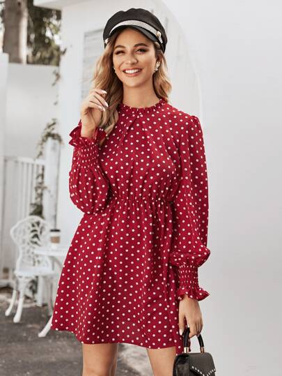 Polka Dot Frill Trim Shirred Cuff Dress