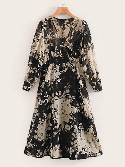 Surplice Front Floral Print High Waist Dress