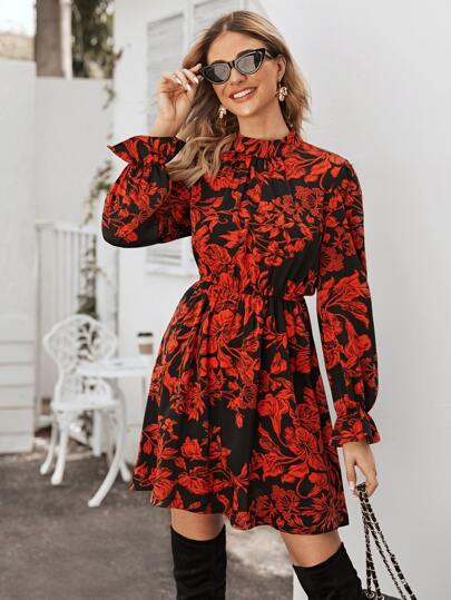 Floral Print Flounce Sleeve Dress