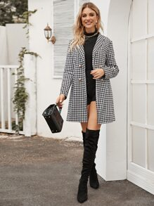 Houndstooth Print Double Breasted Coat