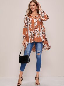 Floral Print High Low Hem Blouse