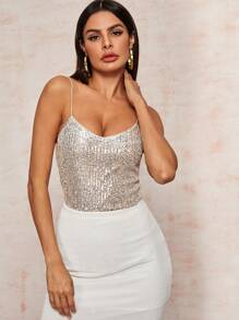V-Neck Silver Sequin Cami Top