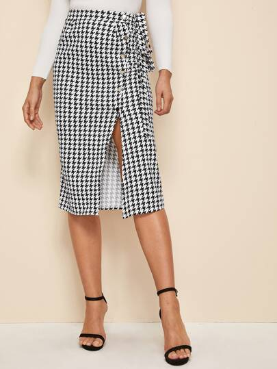 Houndstooth Print Tie Front Split Thigh Skirt