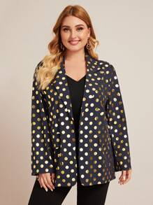 Plus Lapel Neck Allover Polka Dot Blazer