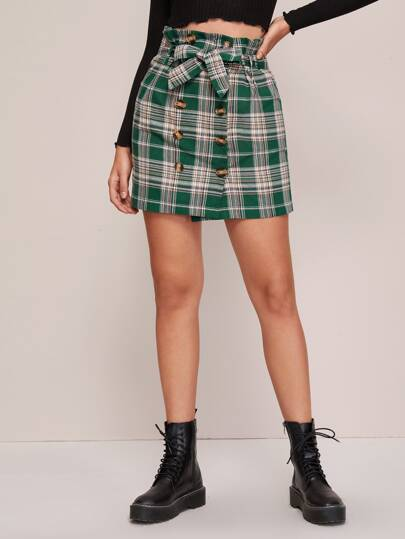 Plaid Button Front Paperbag Waist Belted Skirt