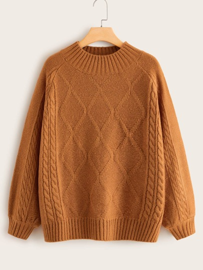 Plus Cable & Argyle Knit Sweater