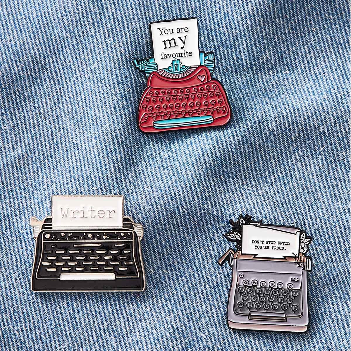 3pcs Vintage Schreibmaschinen Brosche Set