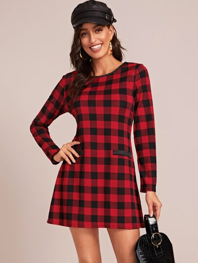 Plaid Print Straight Hem Dress