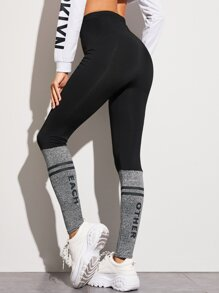 Contrast Panel Striped Elastic Waist Leggings