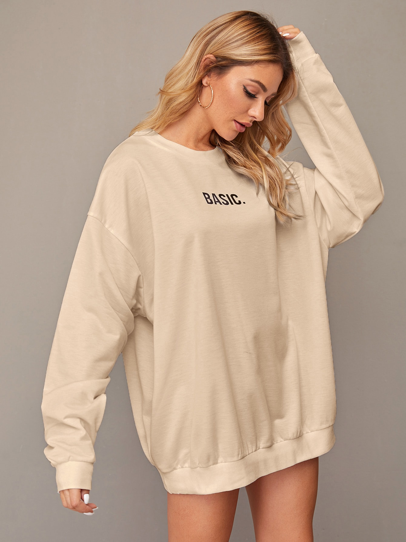 Basic Graphic Dropped Longline Pullover thumbnail